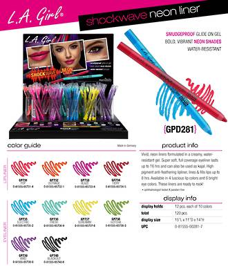 LA Girl Shockwave Neon Liner Display - 120pcs