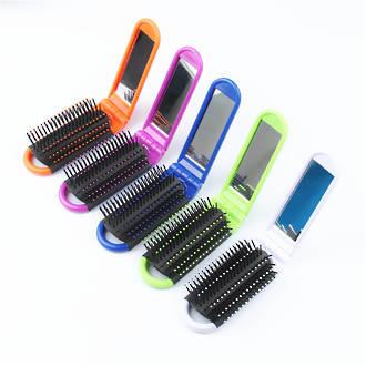 Folding Hair Brush w/Handle & Mirror