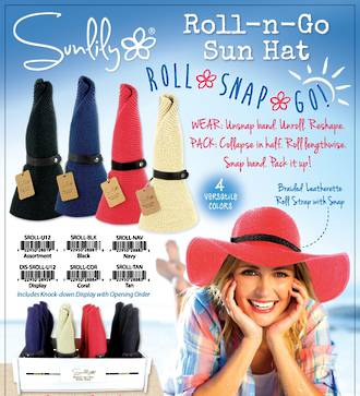 Sunlily Roll-n-Go Hat Display - 12pcs