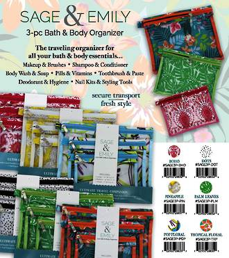 Sage & Emily 3-pack Zip Organizer Pack - 24pcs
