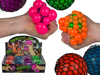 Squeeze Ball in Net Display - 12pcs
