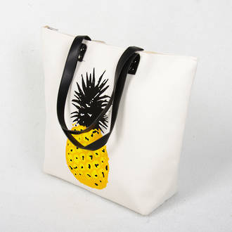 Beach Bag - White Pineapple