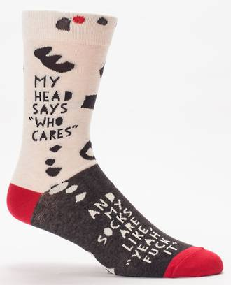 Blue Q Men's Socks - My Head Says Who Cares