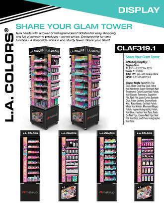 LA Colors 4-Way Spinning Glam Tower