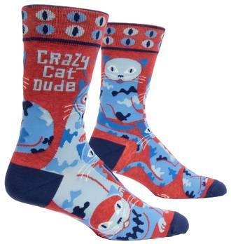 Blue Q Men's Socks - Crazy Cat Dude