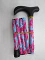 Folding Walking Stick - Blue/Pink Floral