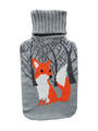 Knit Hot Water Bottle Cover - Fox