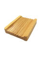 Natural Wooden Soap Dish Ribbed