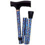 Foldable Walking Stick - Blue Paisley
